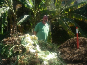 "Joe, the ""Compost King"", amidst mountains of rotting veggies, helping to keep landfills with less waste, and gardens with nutricious soil. Special thanks to MaryBeth and Jeidi for sharing the garden."