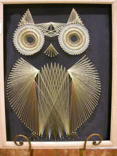 Owl made with metal strings by